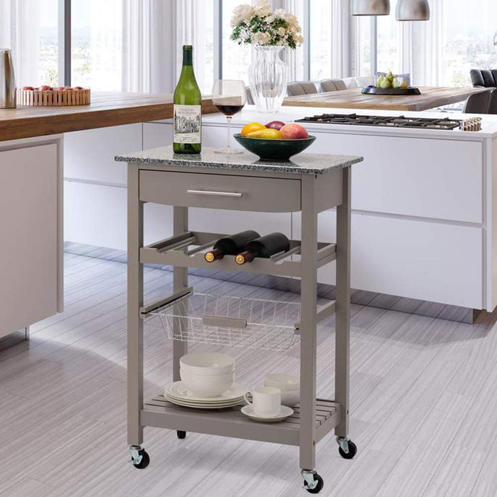 Glitzhome Wood Rolling Kitchen Cart With Marble Top Kitchen Island Storage Trolley Utility Cart Rack With Storage Drawers Open Shelves And Baskets Dining Stand Grey Kitchen Islands Carts