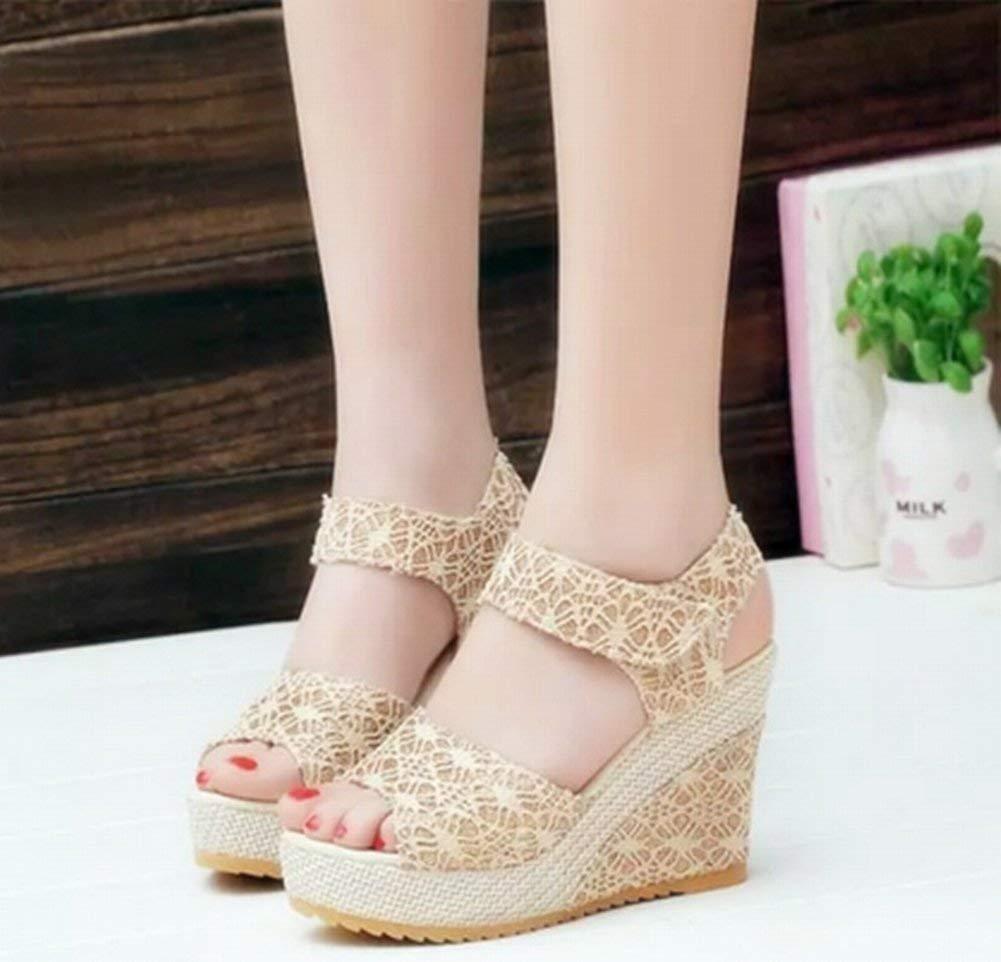 Oudan Velcro Keil Keil Keil mit Rom Schuhe High Heel Wasserdichte Spitze Weibliche Sandalen (Farbe   Polieren Größe   35) e7183f