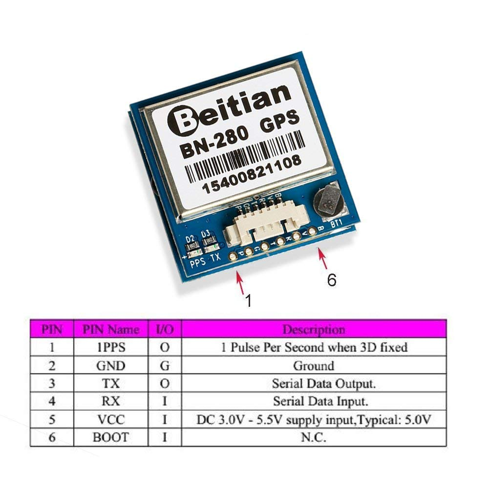 Nidici Bn 280 Gps Module U Blox U8 Uart Ttl Level Dual Tx Should Be Connected To Microcontroller And Rx Glonass With Flash For Arduino Pixhawk Aircraft Flight Control Fpv Freestyle Drone