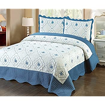 Amazon.com: Homemusthaves-3pc Bedspread Quilted Bed Cover Light ... : quilted bed cover - Adamdwight.com