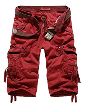 Hombres Algodón Ajuste Suelto Multi Bolsillo Pantalones cortos militares Lavado de color puro Pantalones cortos de cargo… 7flQWD