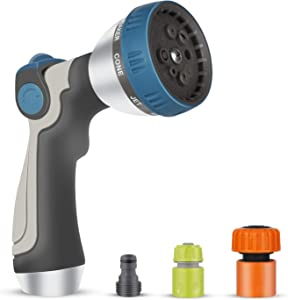 SPFUHO Hose Nozzle with Quick Connectors - 8 Adjustable Patterns Hose Sprayer - High Pressure Leakproof Ergonomic Design Garden Nozzle Hand Sprayer for Cleaning, Showering, Lawn Watering