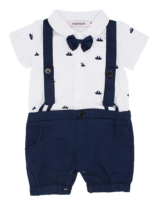 2470f9476 stylesilove Sailor Boat Print Faux Suspender Formal Wear Baby Boy Short  Sleeve Romper