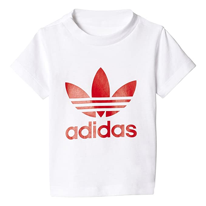 adidas Infants Originals 3-Stripes Trefoil Tee (2T, White/Vivid Red)