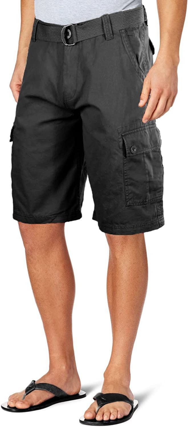 Ma Croix Mens Classic Twill Cargo Shorts with Belt Multi Pockets Utility Pants
