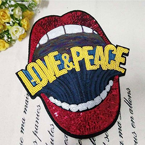 (A-Parts 1Pc Lip Sew-on Embroidered Patch Motif Applique Glitter Sequin Perfect for Clothes Jeans Dress and More)