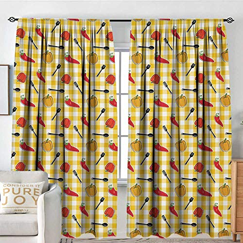 Pattern Curtains Food,Checkered Squares Pattern with Chili and Bell Peppers Plastic Spatula Spoon Cooking,Multicolor,All Season Thermal Insulated Solid Room Drapes 84