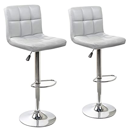Terrific Display4Top Height Adjustable Modern Swivel Square Bar Stools With Comfy Back Rest Faux Leather Hydraulic Kitchen Chairs Set Of 2 Grey Ibusinesslaw Wood Chair Design Ideas Ibusinesslaworg