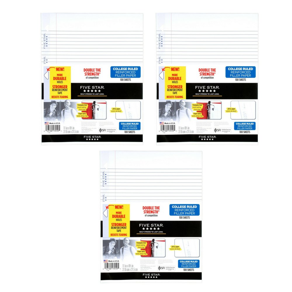 Five Star Loose Leaf Paper, 3 Hole Punched, Reinforced Filler Paper, College Ruled, 11'' x 8-1/2'', 100 Sheets/Pack, 1 Pack (17010) (3 Pack)