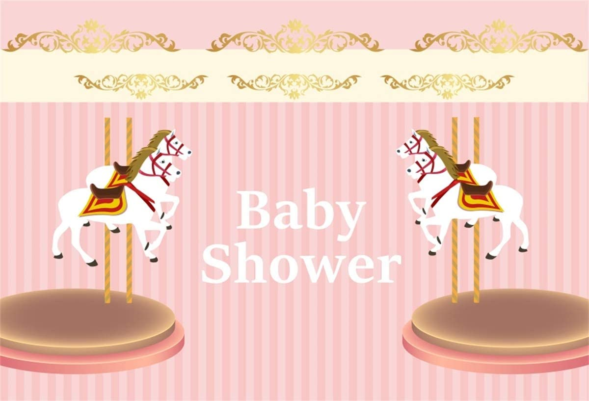 YEELE Carousel Theme Photography Backdrop for Baby Shower 10x8ft Sweet Pink Stripes Little Princess Background Newborn Infant Artistic Portrait Cake Smash Decoration Photo Booth Props Wallpaper