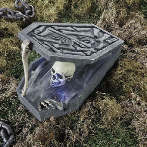 LED Skull In Coffin Halloween Holiday & Seasonal fall Decor (Graveyard Halloween)