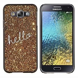 LECELL--Funda protectora / Cubierta / Piel For Samsung Galaxy E5 E500 -- Texto del oro de Bling de Navidad --