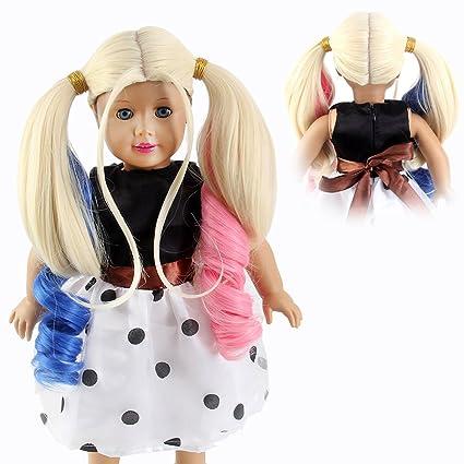 """stfantasy American Girl muñeca pelucas Harley Quinn Cosplay largo rizado Ombre Cabello para 18 """""""