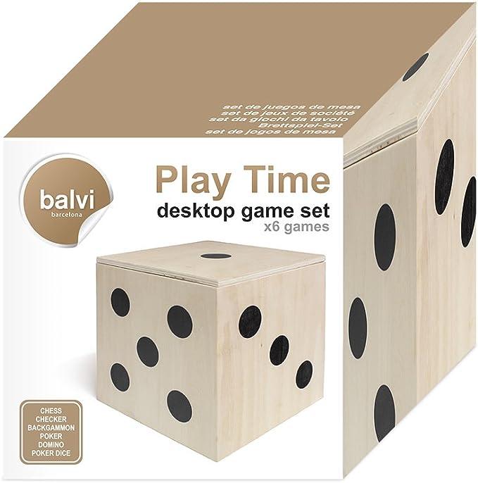 Balvi Set Juegos de Mesa Play Time en Forma de Dado 6 Juegos y Accesorios Caja Madera: Amazon.es: Hogar