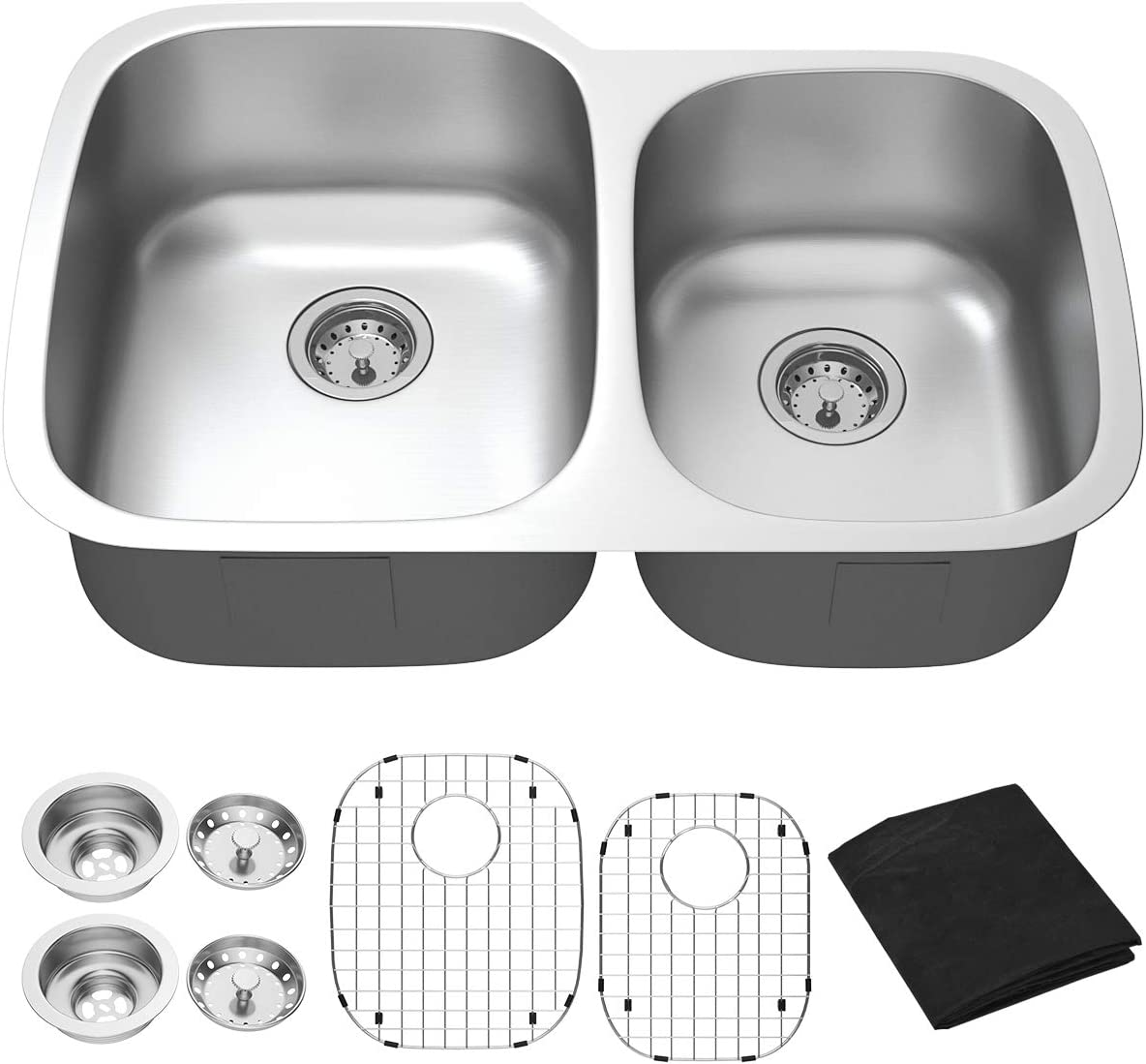 Giantex Undermount Double Bowl Kitchen Sink 60 40 Wash Sink 16 Gauge Stainless Steel Dual Sinks with Accessories 9 Deep 32 Lx21 Wx9 H