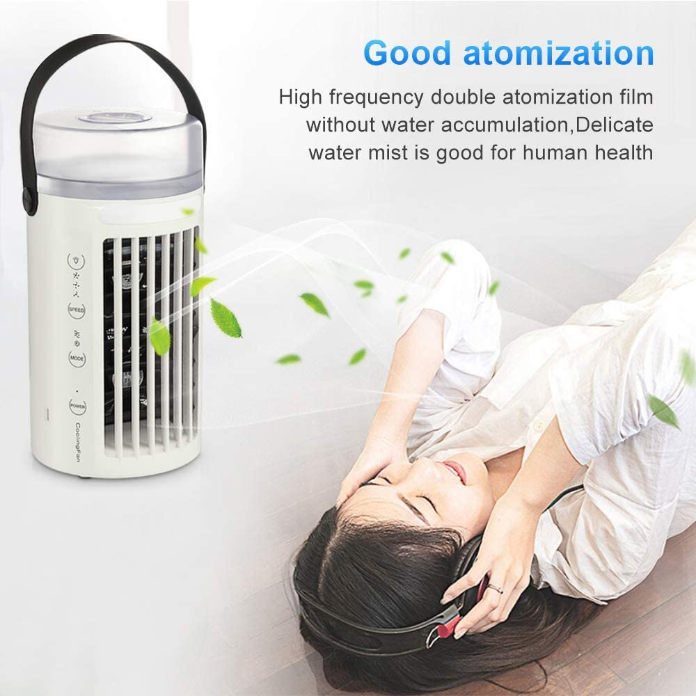 WELTEAYO Personnel Mini Refroidisseur dAir Ventilateur de Climatisation Mobile Silencieux Air Humidificateur avec 3 Vitesses pour Bureau Chambre,Gris-7 Couleurs Climatiseur Portable