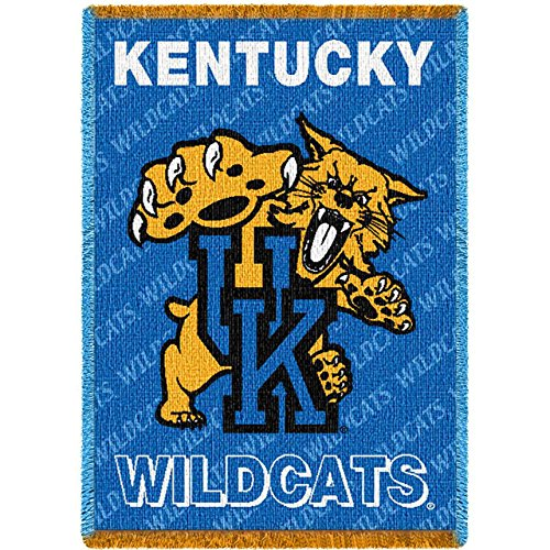 (University of Kentucky Mascot Small Stadium Blanket. 35 inches wide by 48 inches tall, and is woven from 100% cotton.)