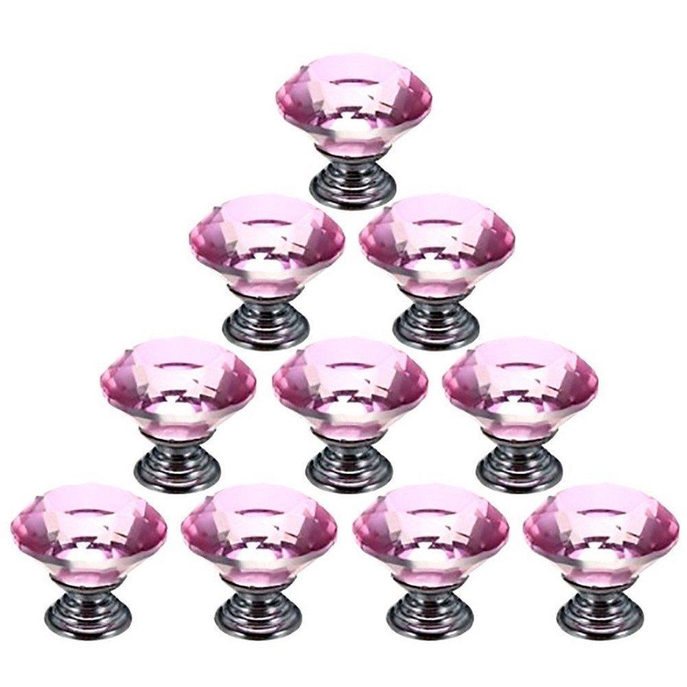10PCS 40mm Kristall Acryl klar Glas Diamantschliff Tür, Küche Schrank Kommode, Pull Griff, Einheit Brust Schubladenknäufe Griffe mit Schraube für Home Dekorieren Küche Schrank Kommode VALINK SHOMVAI1129