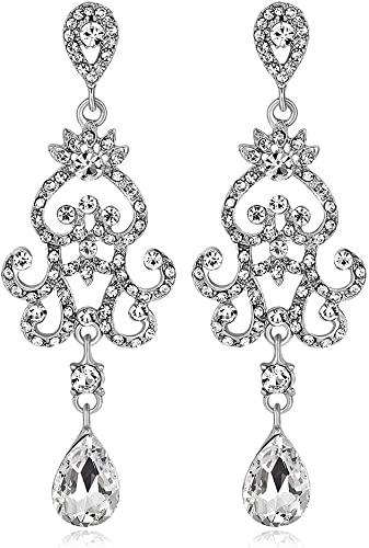 Ladies New Beautiful Diamante Stud Long Earring Bridal Party Costume Jewellery