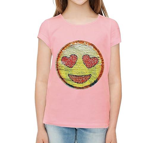 7 opinioni per Paillettes, emozioni, magliette per ragazze, Smiley amore felice.