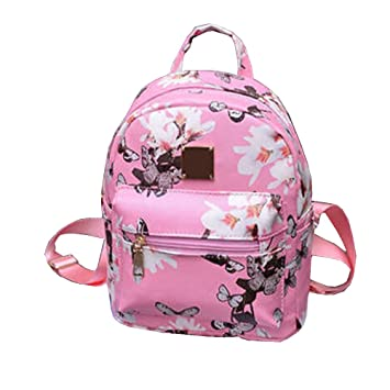 Amazon.com   Women Girls Mini Backpack Causal Floral Printing Leather Bag  (Pink)   Casual Daypacks be9b620b58