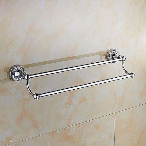 Estética única de Premium moda baño Estilo cromado cobre y plata toallero de barra doble toalla