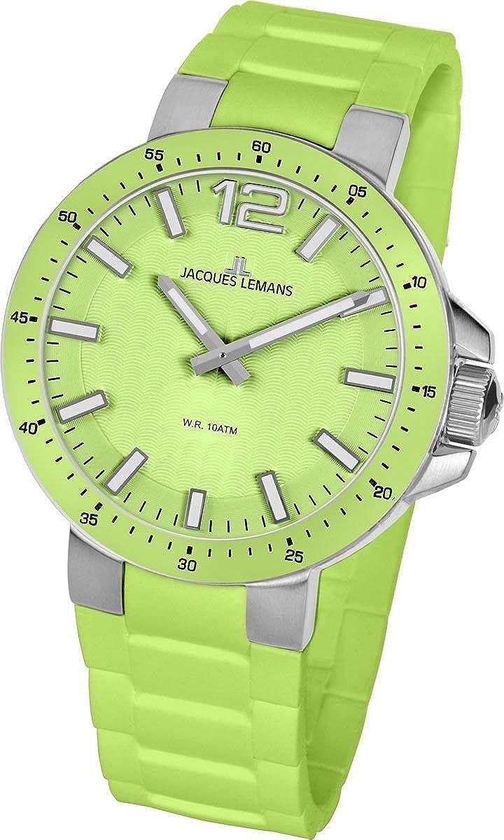 Jacques Lemans Milano 1-1709F - Reloj analógico de Cuarzo Unisex, Correa de Silicona Color Verde