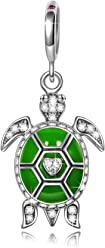 NINAQUEEN Green Turtle 925 Sterling Silver Bead for women, Elegant Gift Box, Nickel Free Passed SGS