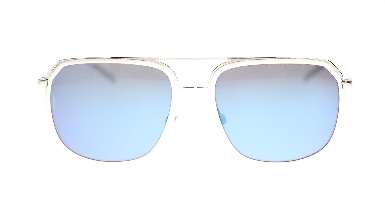 24ccc76e36 Amazon.com  Dolce Gabbana Men s Square Sunglasses DG2165 05 Y7 White  Silver Mirror Blue Lens 58MM Authentic  Clothing