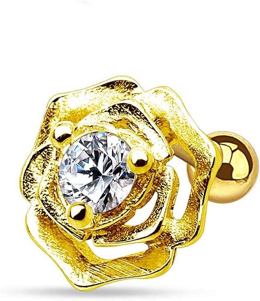 Inspiration Dezigns Cartilage Tragus Piercing Barbell Ring Flower GZ Gem 16G 316L Surgical Steel