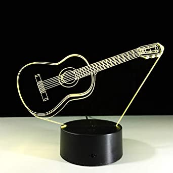 Ilusión de la guitarra eléctrica 3D Light Lámpara 3D LED 7 cambio de color USB Touch