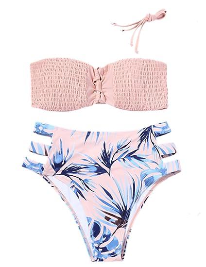 edc2315a6862c Minesiry Women s Two Piece Bandeau High Waist Cut Out Bikini Swimsuit Set  Bathing Suit at Amazon Women s Clothing store