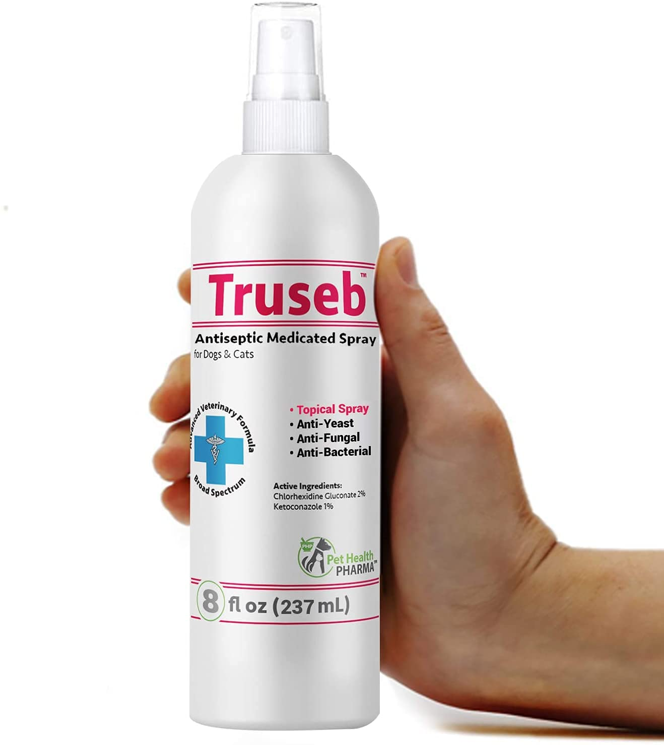 Truseb | Chlorhexidine Spray for Dogs & Cats - Ketoconazole with Aloe & Vitamin E, Hot Spot Treatment, Itch Relief, Dry Skin, Allergy Relief, Rashes