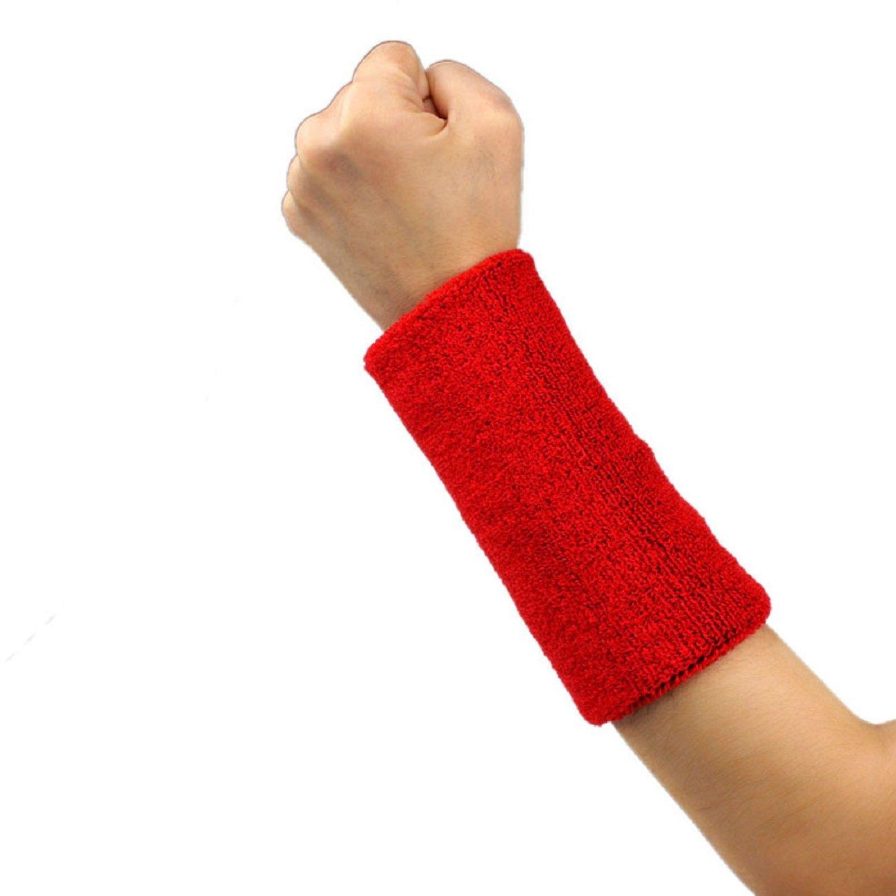 Tonsee 1 PCS Unisex Cotton Basketball Tennis Gym Yoga Sweatband Wristband (Red)