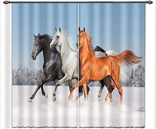 LB Teen Kids Horse Decor Room Darkening Thermal Insulated Blackout Window Curtains,Pentium Horse 3D Window Drapes for Living Room Bedroom 2 Panels Set,42 x 63 Inches