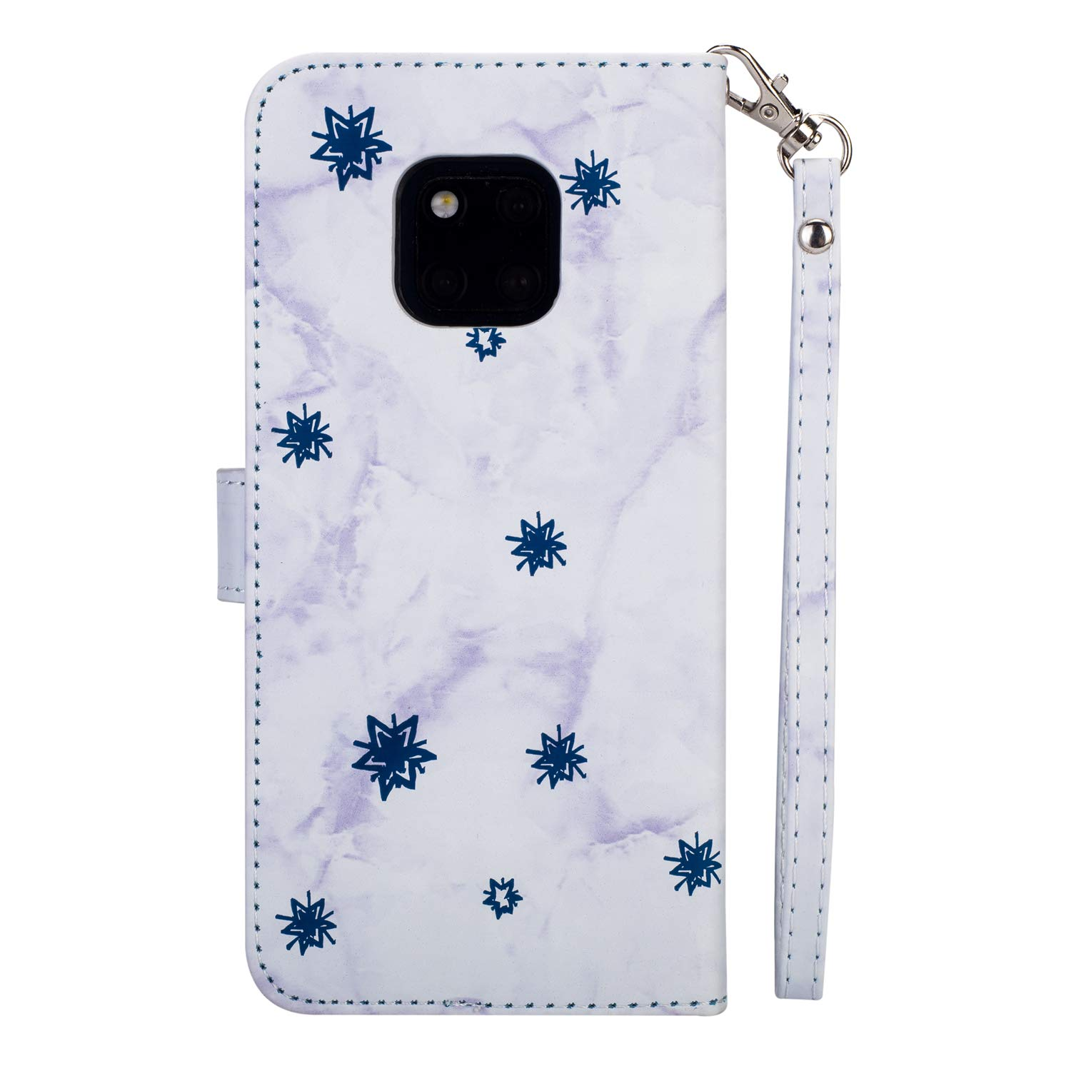 Marble Moon Embossing Imprinted Flip Wallet Premium PU Leather Case for Huawei Mate 20,SKYXD Embossed Flower Totem 3D Pattern Magnetic Closure Soft Slim Cover with Wrist Strap Black