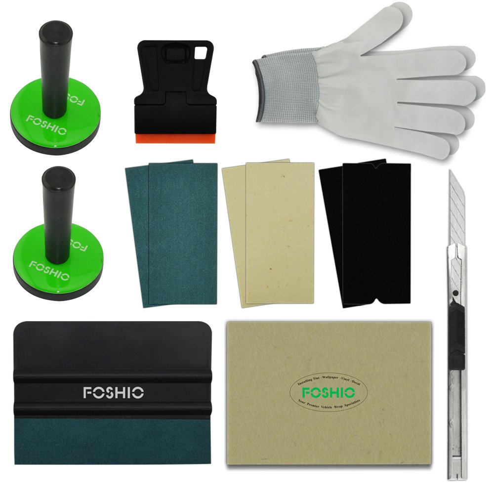 FOSHIO Car Wrap Application Kit include 4 Inch Film Squeegees, Wool squeegee, Vinyl Cutters, Tint Magnet holders, 3 Kinds of Squeegee Felts, Gloves by FOSHIO (Image #1)