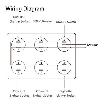 amazon com: linkstyle 12v cigarette socket panel, 3-socket cigarette lighter  splitter & 12v 4 2a dual usb car socket & led lighted on off rocker toggle