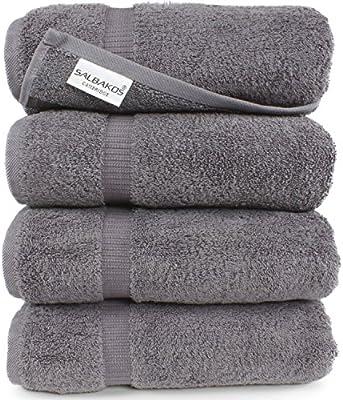 SALBAKOS Sábanas de baño de algodón turco orgánicas y ecológicas para hotel y spa (Juego de 2) Toalla de baño (Pack de 4) Gris