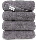 Turkish Luxury Hotel & Spa 27'x54' Bath Towel Set of 4 Cotton From Turkey - 700gsm Eco-friendly (Bath Towels, Gray)