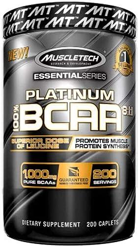 MuscleTech Platinum BCAA Pill, 8 1 1 BCAA Formula, 1000mg of BCAA per Caplet, 200 Caplets