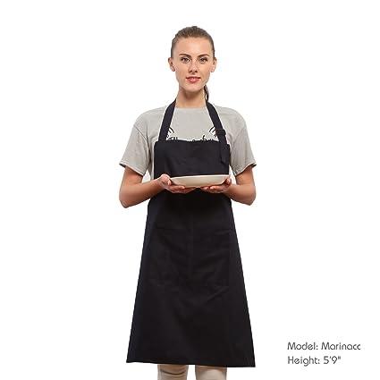 Grembiule Da Cucina Resistente, Grembiule Cuoco e Chef per Uomini e Donne con Cintura Regolabile per Il Collo, Grembiule Da Ristorante in Puro Cotone