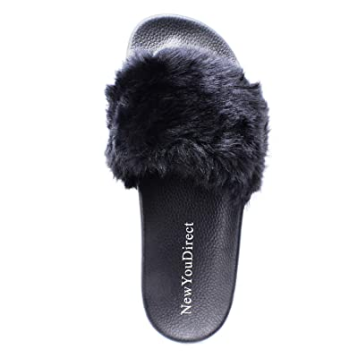 NewYouDirect Fur Slides for Women, Fuzzy Sandals Flip Flop Furry Slides Soft Flat for Indoor Outdoor | Sandals