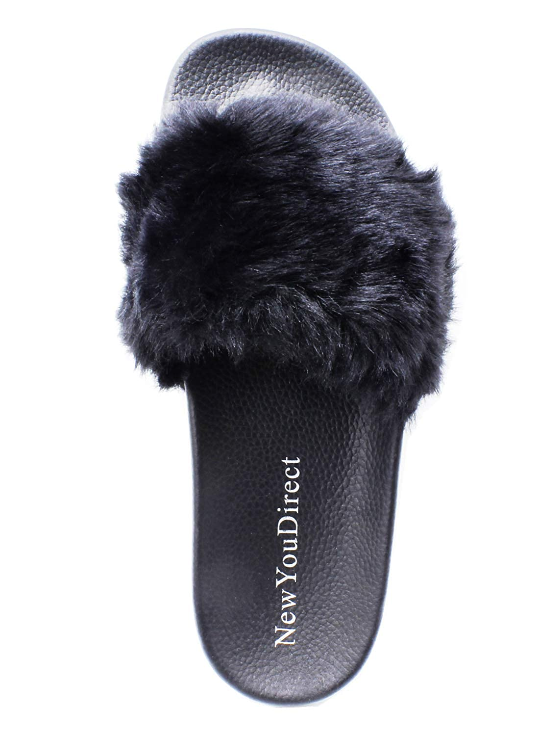 b671cb510a56a NewYouDirect Fur Slides for Women,Fuzzy Sandals Flip Flop Furry Slides Soft  Flat for Indoor Outdoor