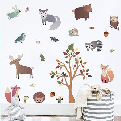 H:82cm decalmile Pegatinas de Pared Animales del Bosque /Árbol Vinilos Decorativos Mono Ciervo B/úhos Adhesivos Pared Habitaci/ón Infantiles Beb/és Guarder/ía Dormitorio