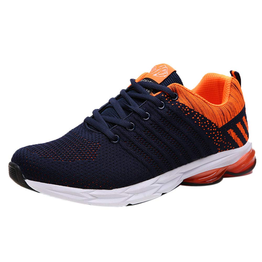 Premium Mens Mesh Sport Shoe,Comfy Running Walking Shoe Breathable Workout Lace-up Sneaker Gym Shoes (US:8.5, Orange)