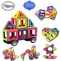 76 PCS Magnetic Tiles Building Blocks Set,STEM Building Block Preschool Educational Construction Kit DIY Creative 3D Magnetic Toys For Boys Girls Kids Toddlers Children With Storage Box