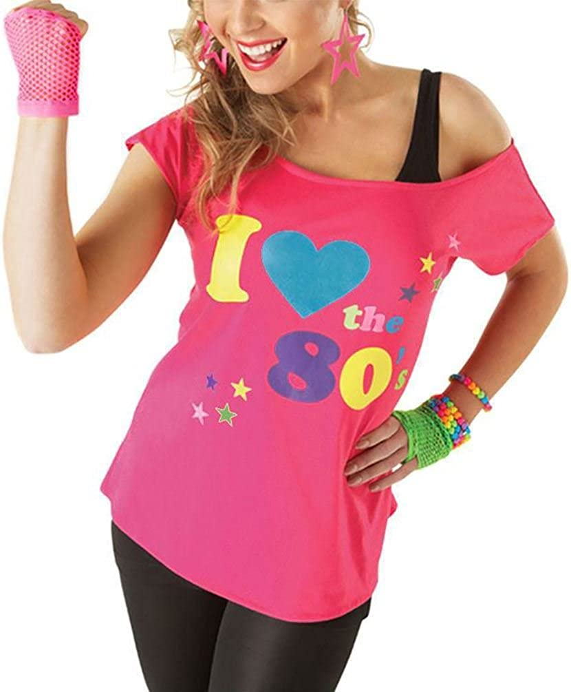 I Love the 80/'s Pink Black T-shirt Costume 1980s Fancy Dress Top Outfit Costume