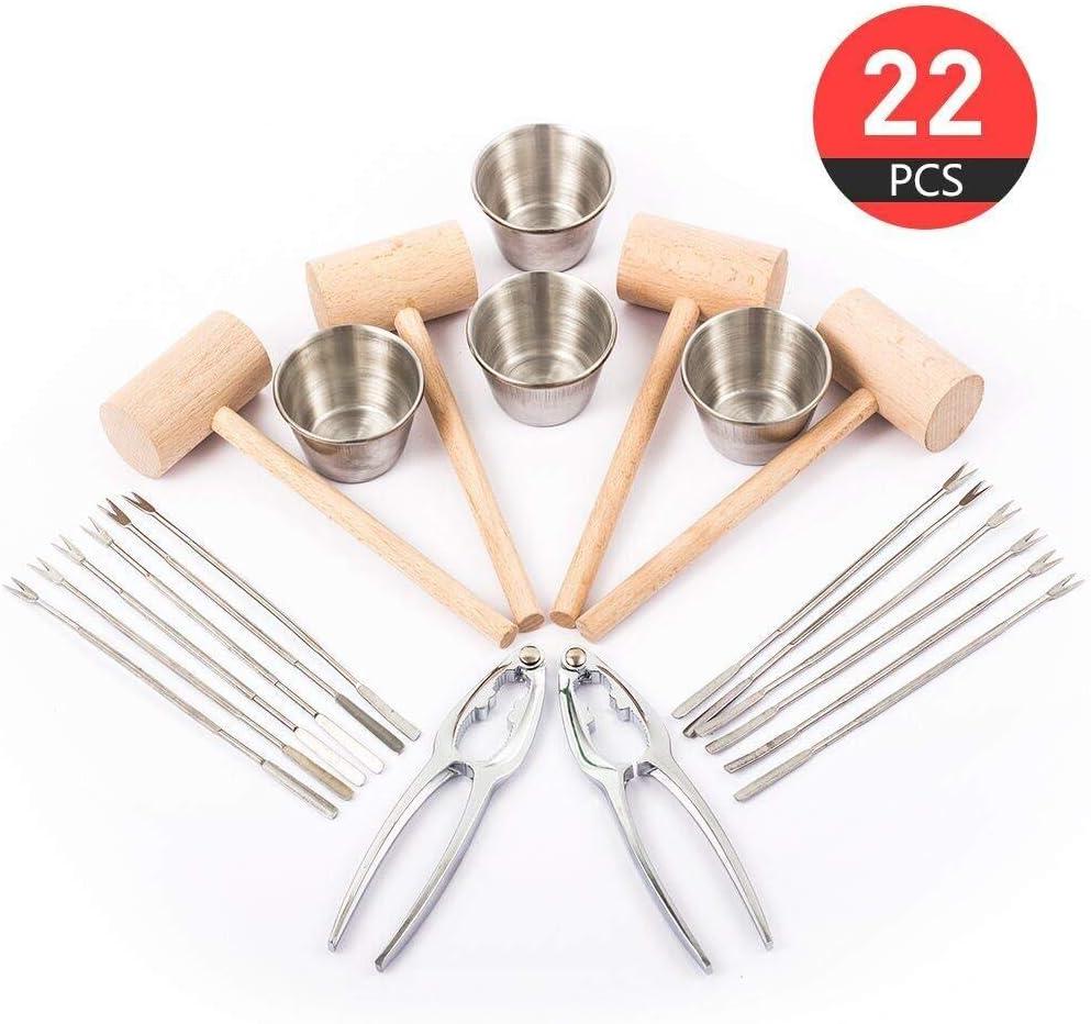 Galletas de Langosta,Tenedores de Mariscos,Acero//Aleaci/ón de Zinc 3 Piezas Herramientas Set para Mariscos y Nuez