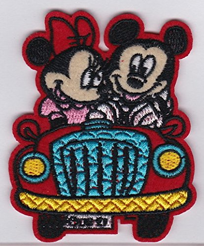 "Mickey and Minnie Mouse Riding on Car W2.6"" x H3"" - Iron on Patches/Sew On/Applique/Embroidered MM6"
